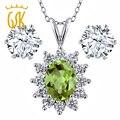 Gemstoneking buque de ee. uu. oval verde peridot natural colgante de 925 pendientes de plata esterlina joyería de la boda conjuntos para las novias