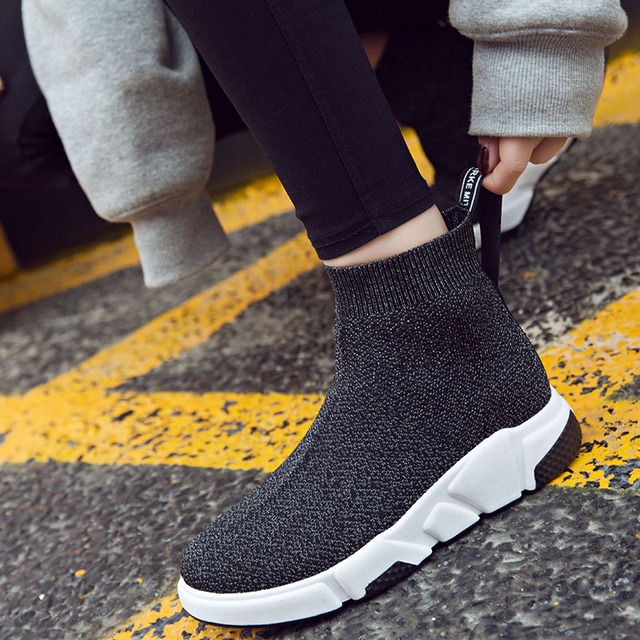 Weweya Hot Sell Running Shoes for Female Sock Sneaker Women Sport Shoes High Top Silver Athletic Shoes Outdoor Jogging Trainers