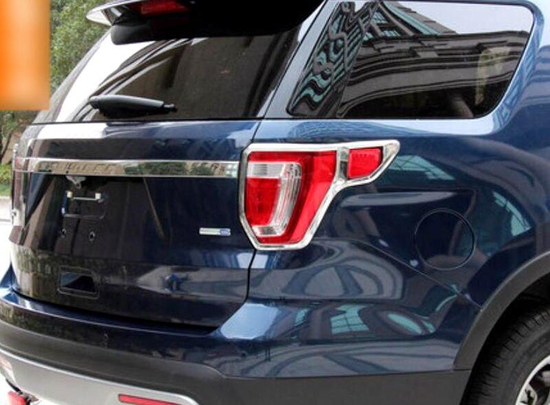 ABS Plastic Chrome Rear Tail Light Lamp Cover Trim 2pcs For Ford Explorer 2016- 2018