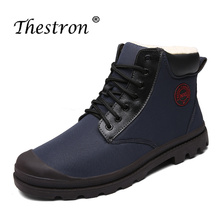 2018 New Cool Winter Men Boots with Fur Brand Blue Dark Grek Leather Snow for Male Inside Velvet Rubber Sole Casual
