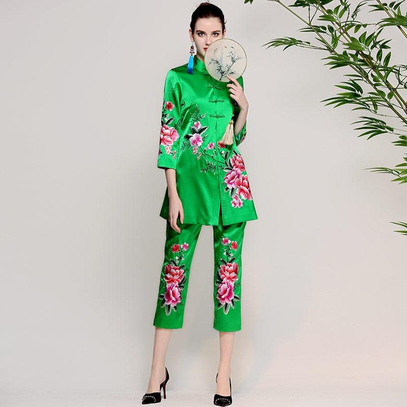 Printemps Pantalon Ensembles Nouveau Vintage green Lux Manteaux Capris Red Boutons Été Femmes Femelle Florale Rose Broderie Veste Mince Costume Longs 2018 1XFdq