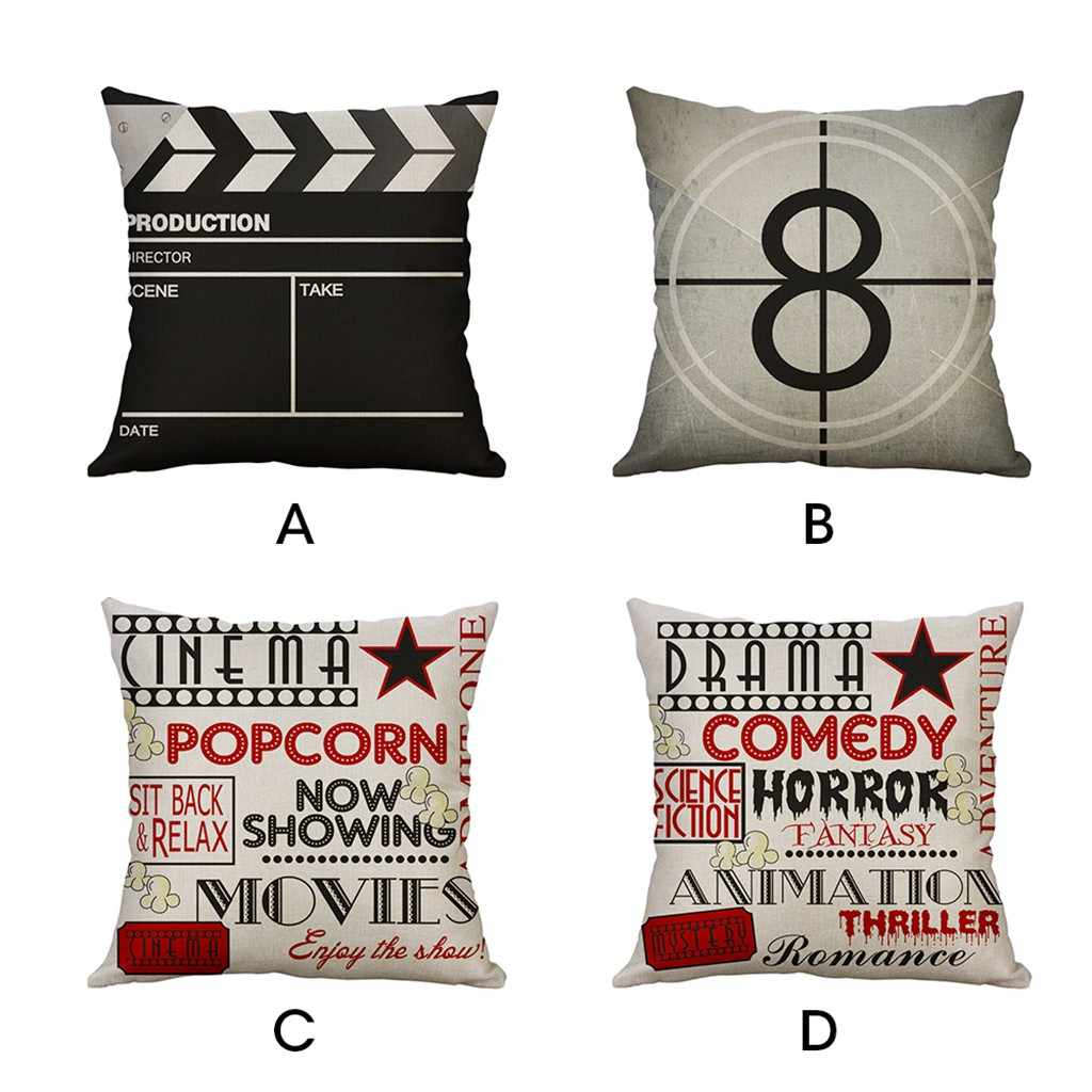 Vintage Movie Cushion Cover Popcorn Pillow Cover Cotton Linen Sofa Car Decorative Throw Pillow Case 45*45/40*40cm Homer Decor