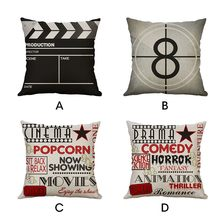 Vintage Movie Cushion Cover Popcorn Pillow Cover Cotton Linen Sofa Car Decorative Throw Pillow Case 45*45/40*40cm Homer Decor(China)