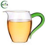 300ml Heat-Resisting Glass Tea Pot Gong Dao Cup With V-shaped Spout & Green Handle Black Tea Tie Guan Yin Teapot