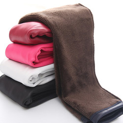 Большая распродажа, зимние леггинсы из искусственной кожи для девочек теплые леггинсы с цветочным рисунком осенне-зимние плотные брюки, шт...