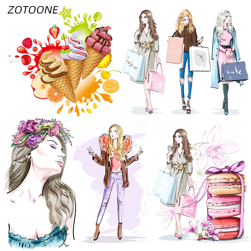 ZOTOONE Iron On Transfer Patches On Clothing Diy Stripes 3D Girl Patch Heat Transfer For Clothes Decoration Stickers For Kids G