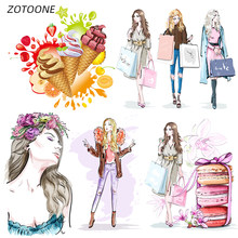 Zotoone Iron On Transfer Patches Op Kleding Diy Strepen 3D Meisje Patch Warmteoverdracht Voor Kleding Decoratie Stickers Voor Kids G(China)