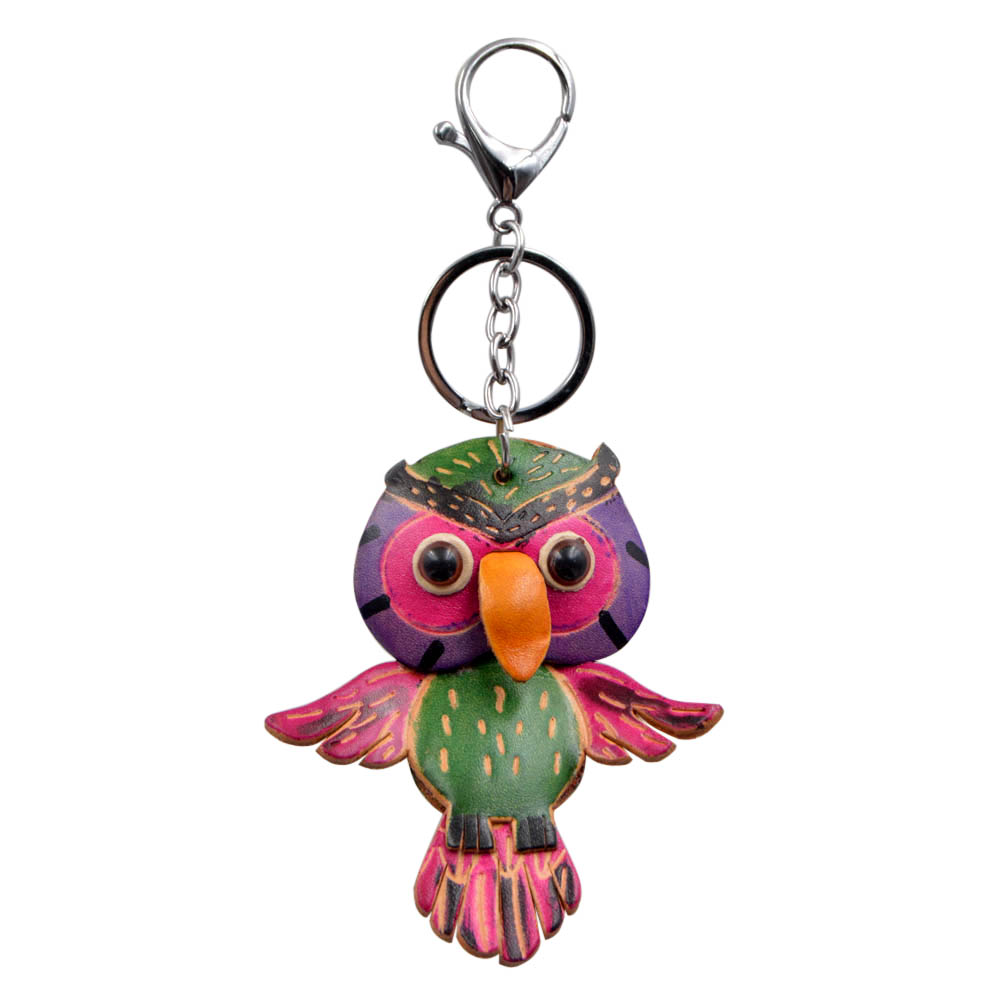 Youngtulip Handmade Cow Leather Owl Key Chains Unisex Animal Cowhide Keychain Car Handbag Hanging Vintage Accessories Good Gift