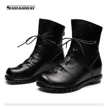 2016 New Fashion Leather Women Boots Winter Shoes Casual Moccasins Ladies Flat Shoes Handmade Shoes red womens boots Mid 4 color