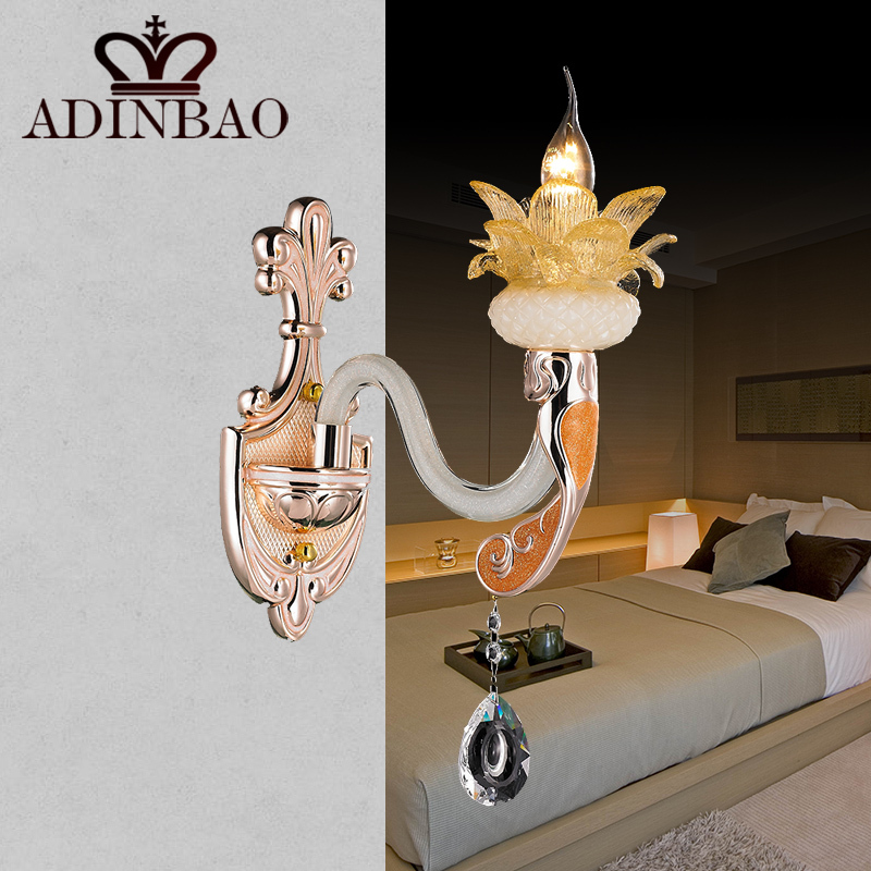 Resin Flower Wall Light K9 Crystal Sconce Bedside Reading Lamp Garden Outdoor F032 1 In Lamps From Lights Lighting On Aliexpress