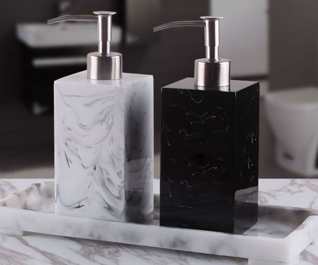 Creative Resin Soap Bottle Hotel Marble Shampoo Dispenser Press  Hand Sanitizer Bottle Soap Dispenser Set 400ml/500ml