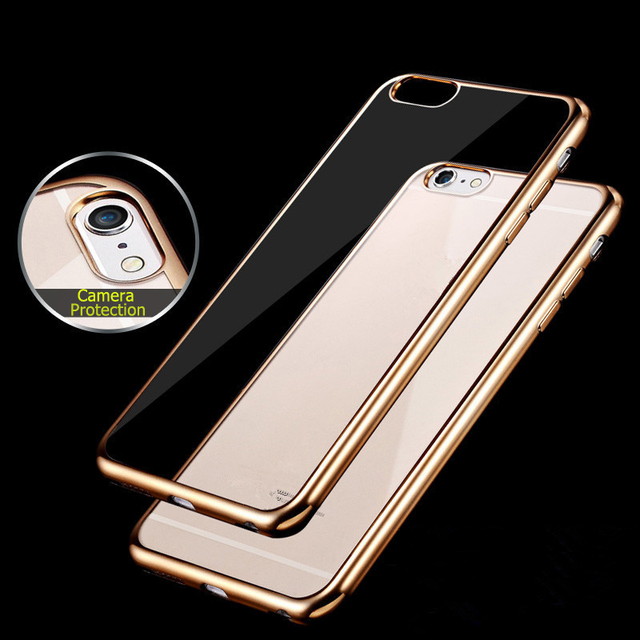 3cae132d4d5 For Apple iPhone 7 6 Plus Case Slim Plating Clear TPU Silicone Protective  sleeve For iPhone 5 5S SE 6S 7Plus Covers Cases Coque