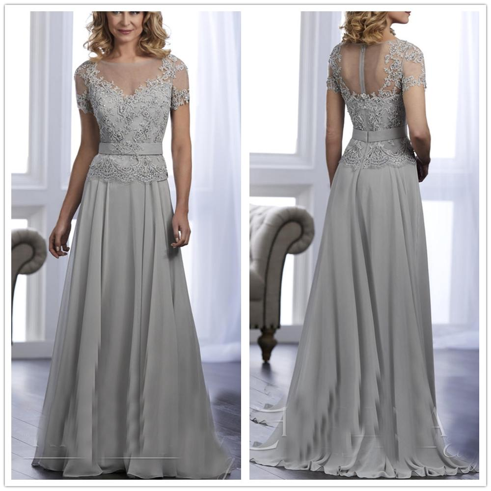 Vestido Madrina Boda Cap Sleeves Grayy Appliques Beading A-line Sash Crystals Chiffon Mother Of The Bride Dresses For Weddings