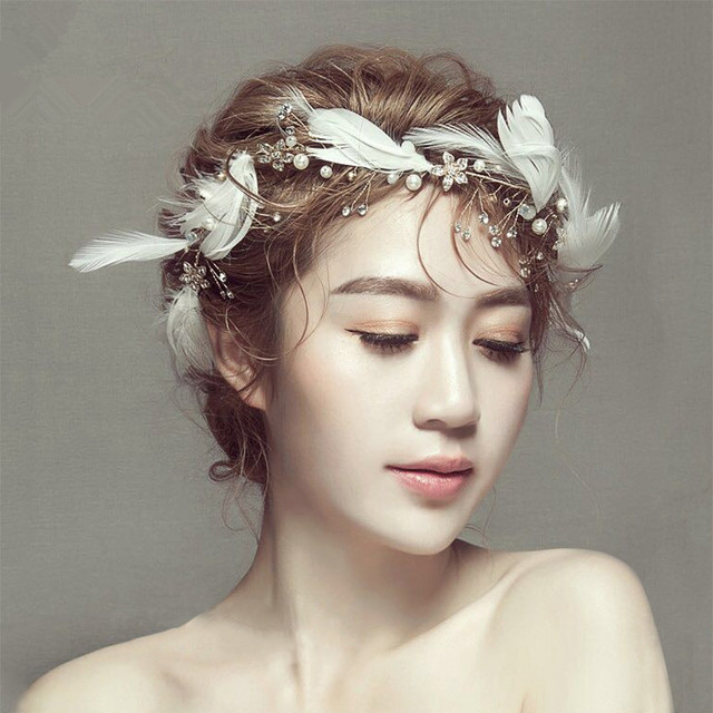 Hot Sale Gorgeous Feather Headband Women Crystal Pearl Forehead Hair Ornaments Gold Plated Wedding Accessories