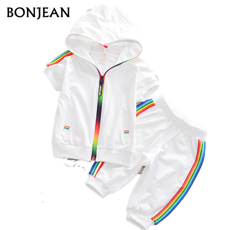 Fashion Clothes S Children Boys Girls Sportswear Summer Baby Colorful Hoodies Shorts 2pcs Kids Suit Cotton Tracksutis Hooded