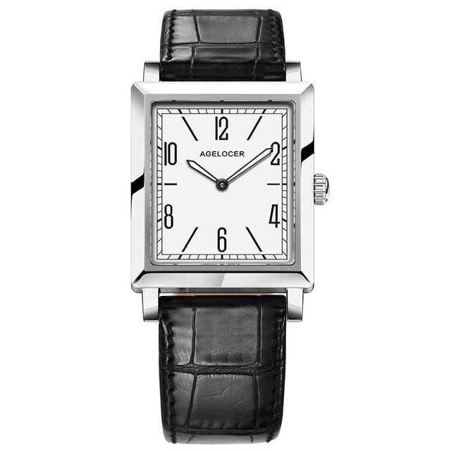Agelocer 최고 브랜드 럭셔리 드레스 시계 빛나는 석영 시계 가죽 스트랩 시계 스틸 시계 3403a1