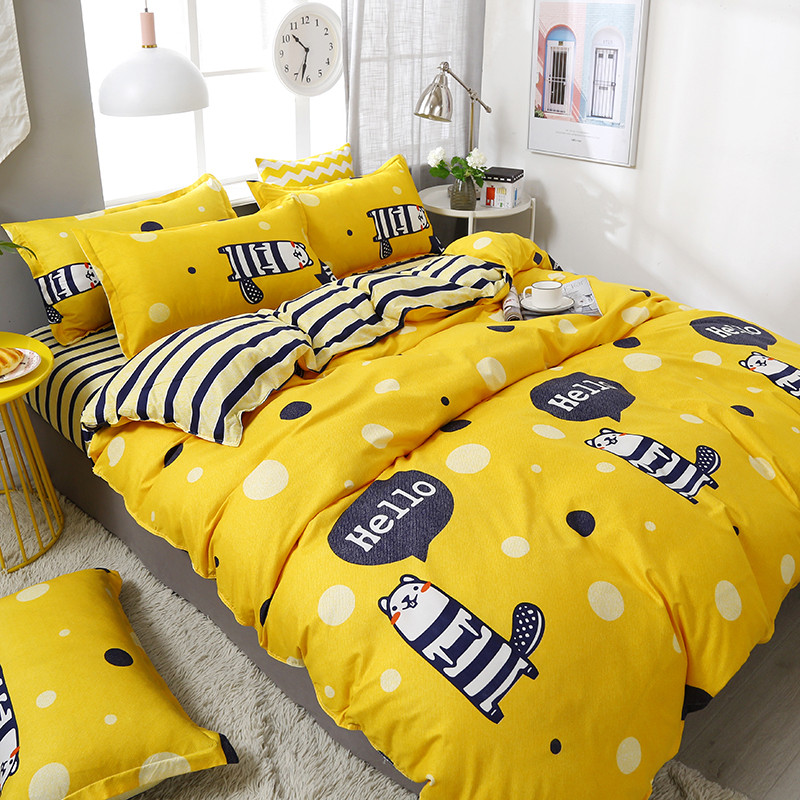 4pcs/set Cartoon Style Comfortable High Quality Printing Family Bedding Set Bed Linings Duvet Cover Bed Sheet Pillowcases(China)