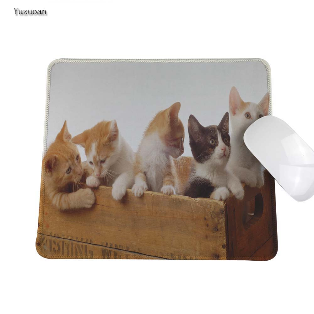 Yuzuoan Cute Cat Rubber Soft Anti-Slip Laptop PC Pad Mat White OverLock Gaming Mouse Pad Customized Supported 180*220 mm ...