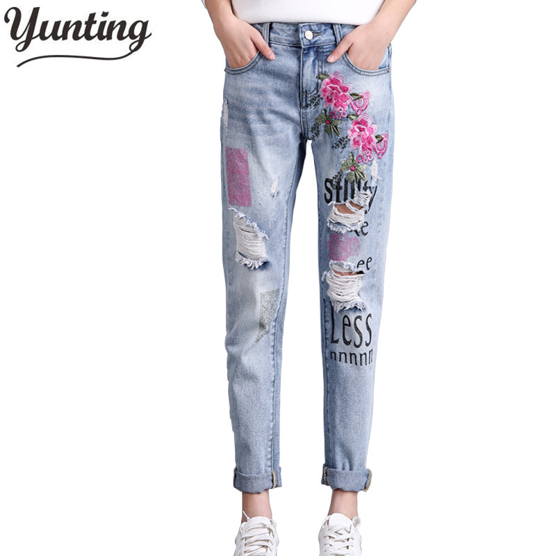 2018 Autumn fashion women floral embroidery hole ripped denim pants ladies casual blue jeans trousers 2017 spring new women sweet floral embroidery pastoralism denim jeans pockets ankle length pants ladies casual trouse top118
