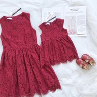 Mother Daughter Wedding Dresses Red Lace Summer Short Sleeve Round Neck Mom and Daughter Dress Skirt Family Matching Outfits
