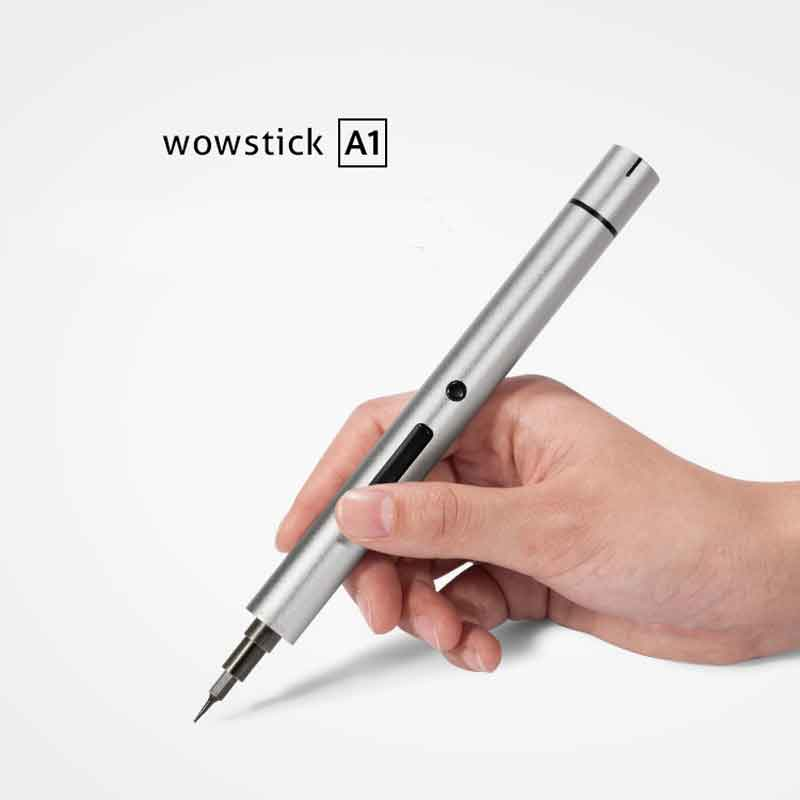 Wowstick A1 Mini Electric Screwdriver Alloy Body LED Light Cordless Battery Power with Multi Bits Extend