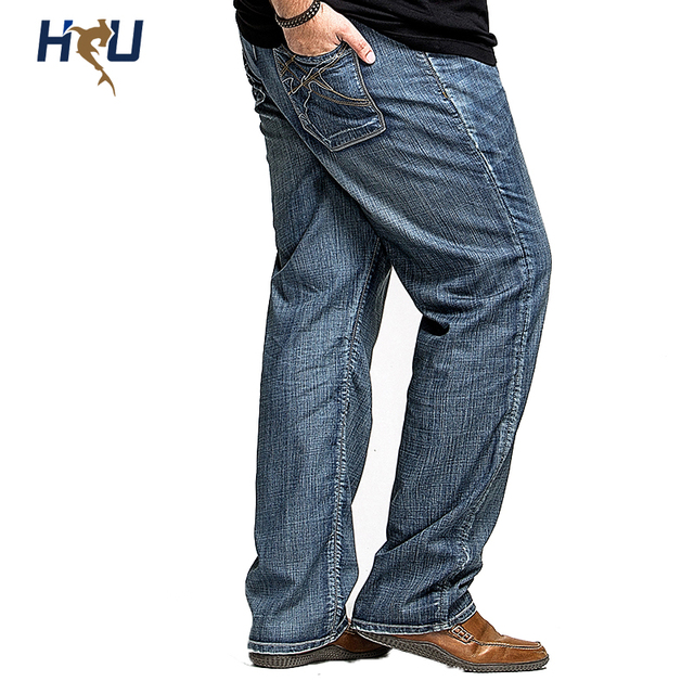 4403adee96f Men s Jean Big Size 38 40 42 44 46 48 Long Straight Big Man Pants For  Amercan European and Russian Denim Jeans Trousers