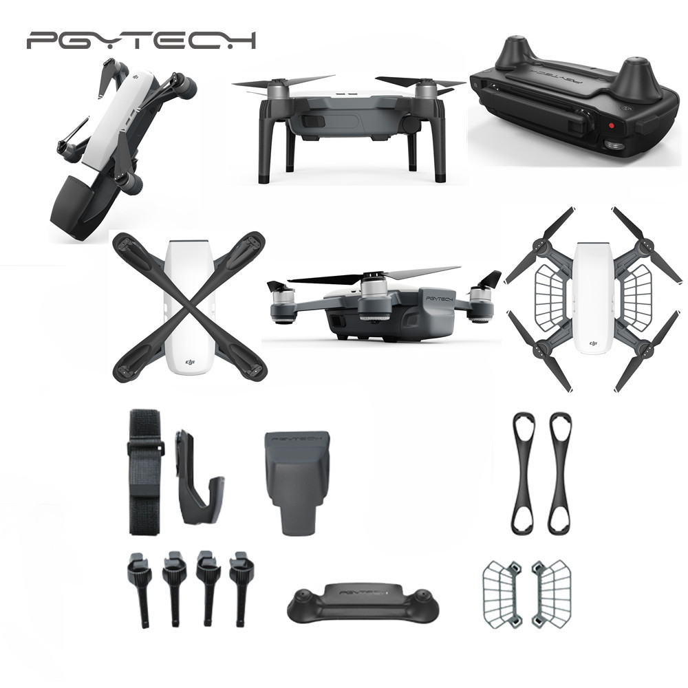PGYTECH DJI Spark Accessories Set Bundle Combo gimbal protector landing gear risers propeller holder for spark drone accessories pgytech dji spark led light for dji spark portable night flight led light lighting drone accessories