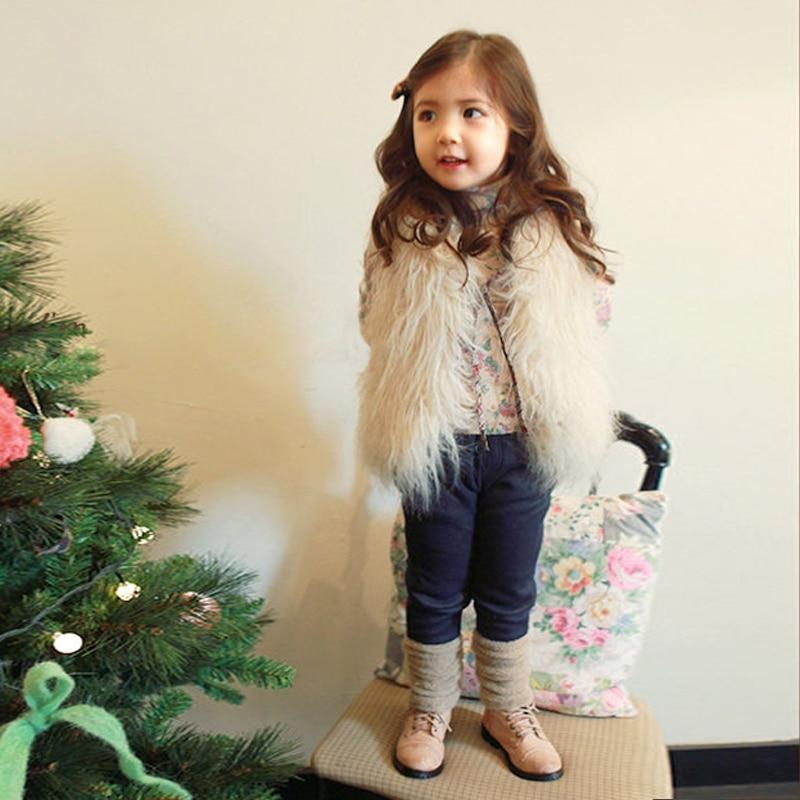 d2e87e910 Navidad niños de piel falsa Chaleco para niñas ropa de invierno 2016 otoño  caliente Cabritos de La Muchacha Chalecos Chalecos Niños Ropa de Abrigo  Abrigos ...