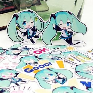 Image 2 - 40 pcs Cartoon mini green girl scrapbooking Stickers Laptop Sticker Decor Fridge Skateboard For Travel Suitcas diy tool