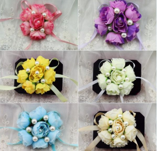 2 X Wedding Prom Wrist Corsage Hand Flower Crosage Silk Rose Flowers ...