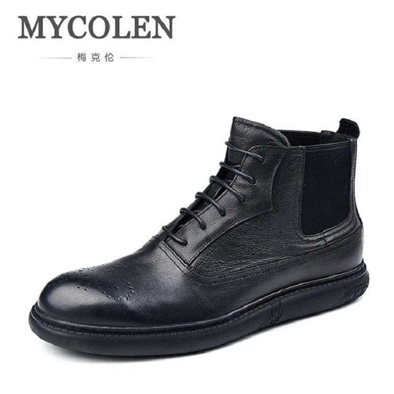 MYCOLEN Men Boots Fashion Leather Winter Boots For Men New Design Man Winter Shoes Lace Up Rubber Shoes Mens High Top Sneakers mycolen high quality men white leather shoes fashion high top men s casual shoes breathable man lace up brand shoes