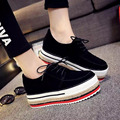 2016 Spring Autumn Hot Sale Fashion Women Nubuck Leather Platform Lace-up Shoes Round Toe Thick with Casual Shoes Big Size 35-39