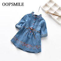 New Spring Autumn Denim Baby Girls Dress Embroidery Princess Dress Casual Long Sleeve Kids Jeans Dress