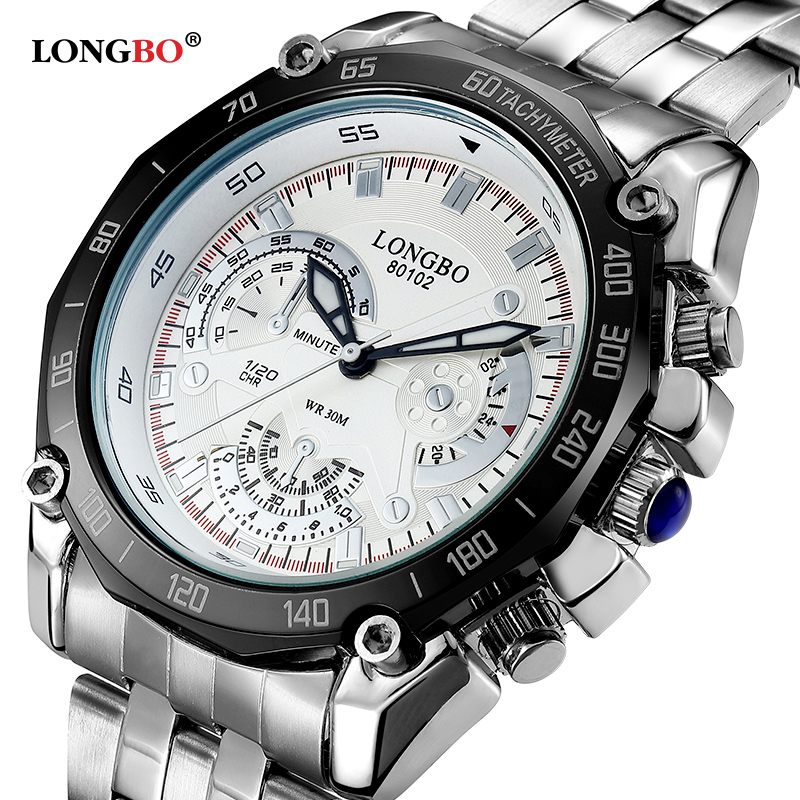 LONGBO Brand Big Dial Men Watch Men's Stainless Business Quartz Wristwatch Waterproof Sports Men Relogio Masculine Clock Hours longbo men military watches complex big dial leather strap wristwatch male outdoor sports quartz watch life waterproof uhren men