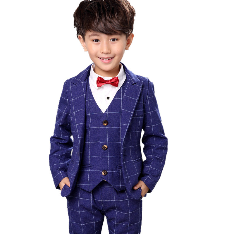 ФОТО (Vest + shirt + tie + pants) male vest 4 sets, men show high-end suits, children's clothing three-color