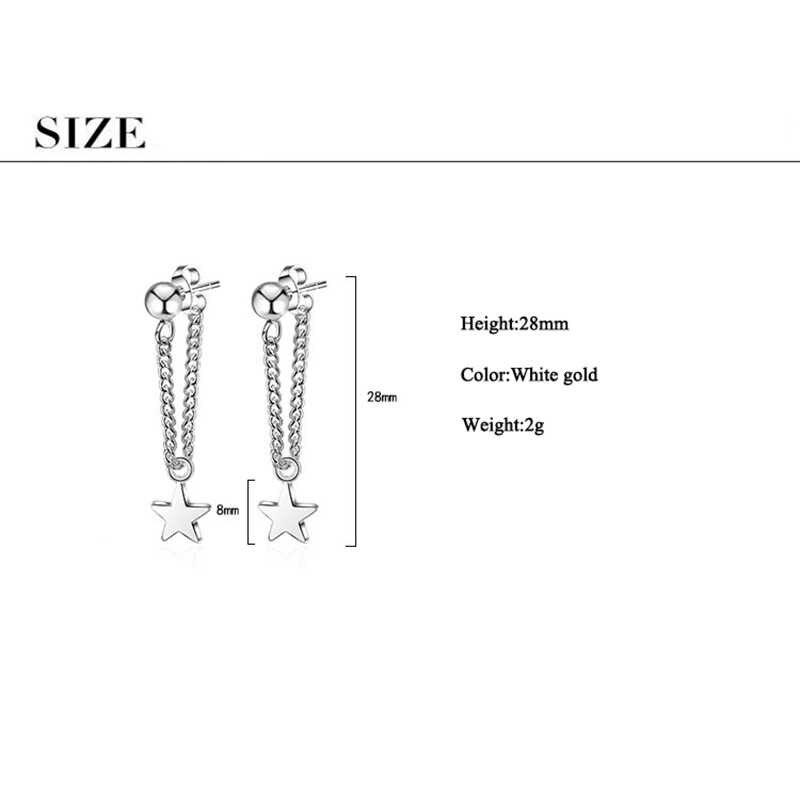JYouHF новые женские серьги-гвоздики из стерлингового серебра 925 пробы, ювелирные изделия, Классическая Звезда, кулон с ушками, Проволочная цепочка, серьги для женщин, вечерние, подарок