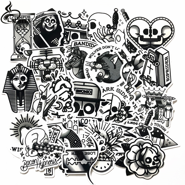 29pcs/lot black\u0026white Old School Tattoo Stickers For Laptop Suitcase  skateboard Little Vintage style Waterproof sunscreen decals