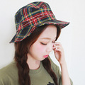 Basin of South Korea folding grid cap hat tide female fisherman hat sunscreen hat