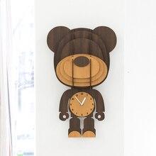Mandelda High Quality Good Friend Animal Clock Cute MDF Brown 3D Decorative Gift Wall Dog,Rabbit,Cat,Bear