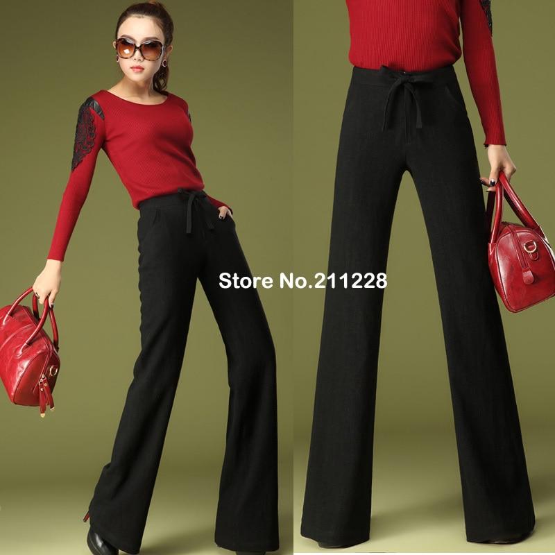 Spring Autumn Womens Formal Black Dress Wide Leg Loose Trousers Slim