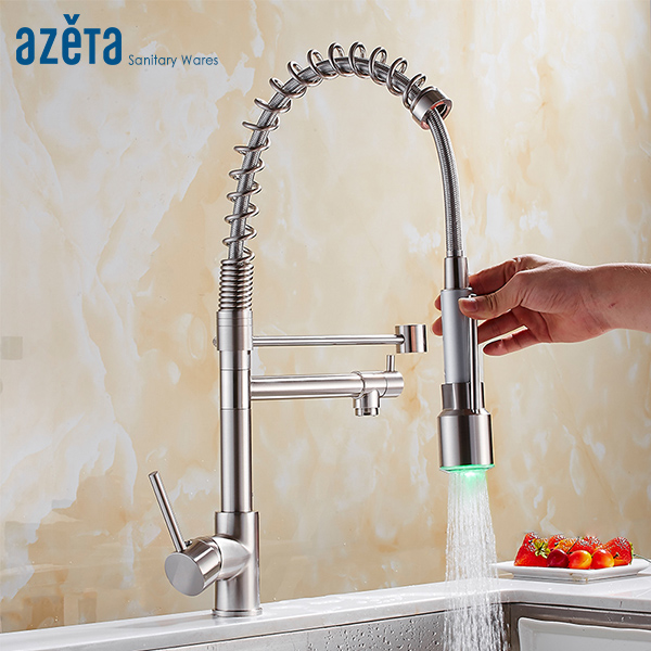 Azeta LED 360 Degree Rotation Kitchen Faucet Brass Brushed Nickel Faucet Dual Sprayer Pull Down Kitchen