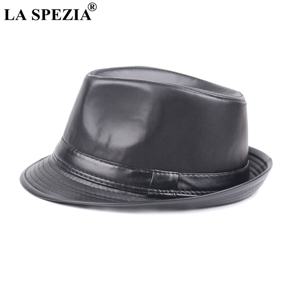 f3d01c1f LA SPEZIA Faux Leather Fedora Hat Men Black Casual Jazz Caps Winter Vintage  Felt Trilby Hat Gentleman Classic Panama Cap Male-in Fedoras from Apparel  ...
