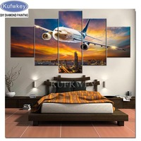 2019 Diamond Embroidered 5 Panel Aviation Aircraft Canvas Painting diamond paint Full square Round Drill Rhinestone mosaic art