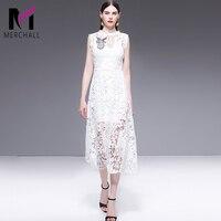 Summer 2019 Sleeveless White Dress Women High Fashion Hollow out lace Embroidery Runway Dress Elegant Beading Midi Dress