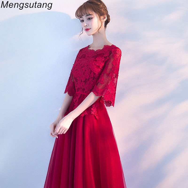 Robe de soiree New Slim Wine Red long O-Neck Lace with Appliques   evening     dress   Elegant vestido de festa prom   dresses   party   dress