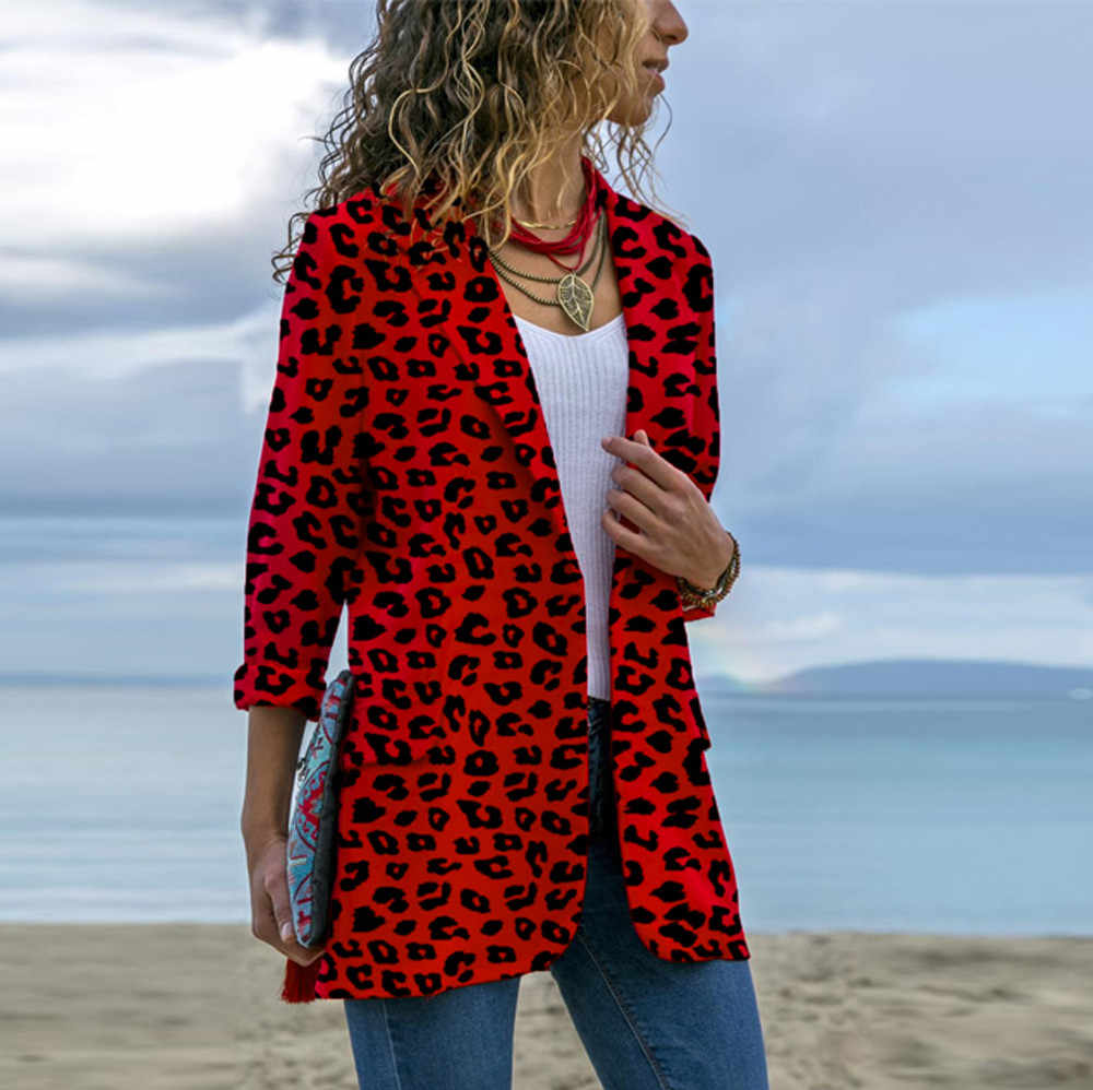 079e1fb6bbbcd Ladies leopard suit Long Sleeve Cardigans print Coat turn down collar Jackets  womens plus size 5XL