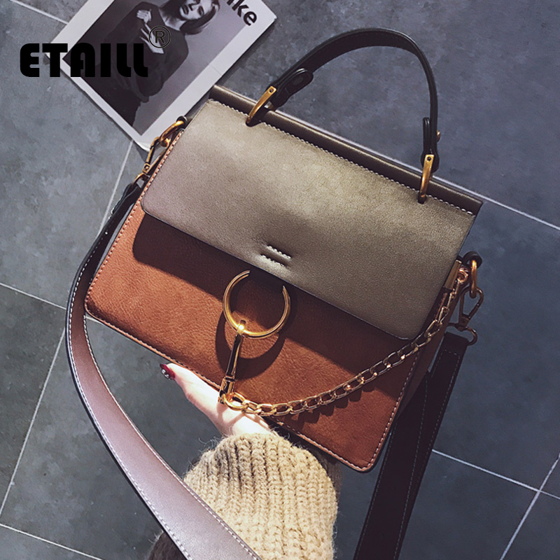 ETAILL New Fashion Nubuck PU Leather Handbag Shoulder Bag High Quality Top Handle Women Messenger Bag Ring Chain Crossbody Bag 2017 new fashion women handbag messenger shoulder bag famous brand pillow pattern pu leather crossbody top handle bag hot sale