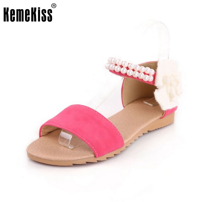 Size 34-43 Women Flat Sandals Fashion Bohemia Beade Ankle Strap Flower Summer Shoes Open Toe Flats Heel Female Sandals PA00256 2016 fashion summer women flat beaded bohemia ppen toe flat heel sweet women students beach sandals o643