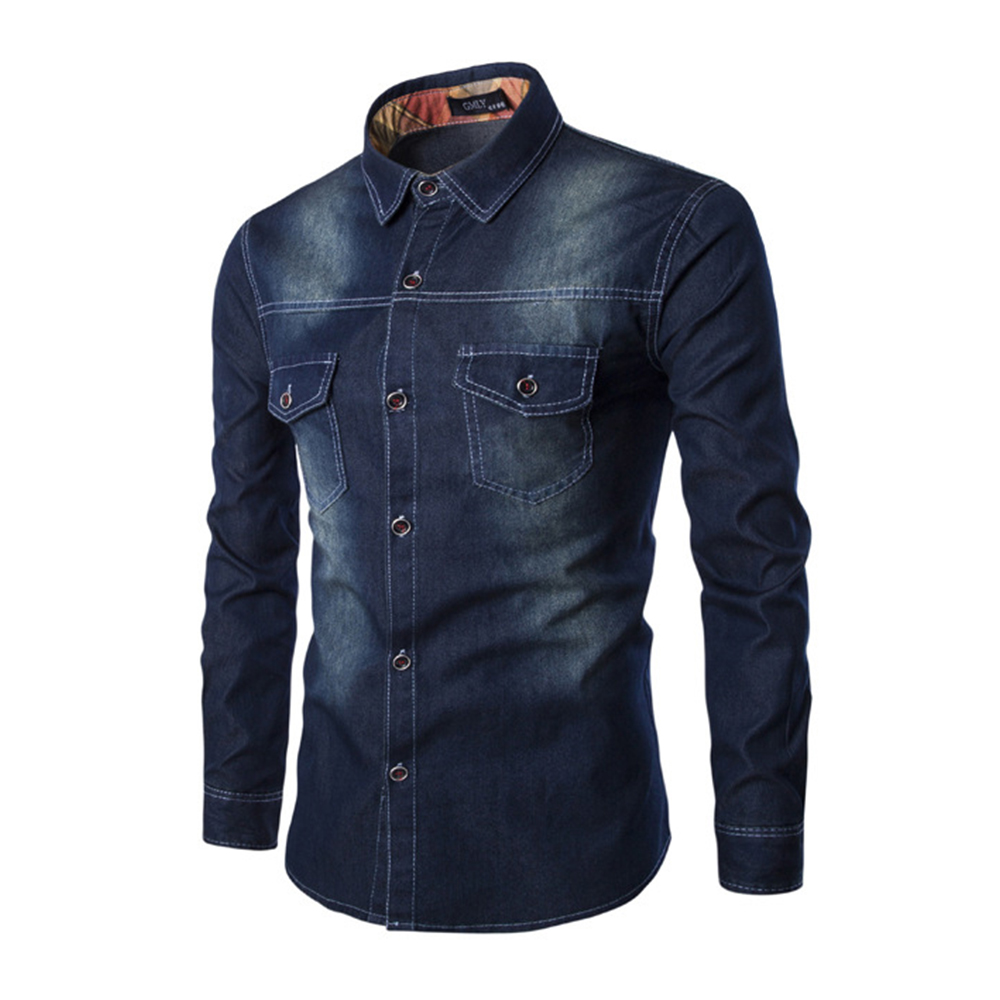 2019 New Fashion Men Shirt Brand Male Long Sleeve Shirts Casual Solid Color Denim Slim Fit Dress Shirts Mens 6XL in Casual Shirts from Men 39 s Clothing
