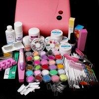 Nic-116 trasporto libero Pro 36 W Essiccatore UV acrilico nail art set, acrilico nail kit, kit gel del chiodo, kit unghie in Gel set con lampada